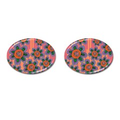 Colorful Floral Dream Cufflinks (oval) by DanaeStudio