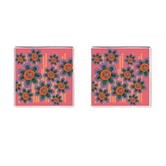 Colorful Floral Dream Cufflinks (square) by DanaeStudio