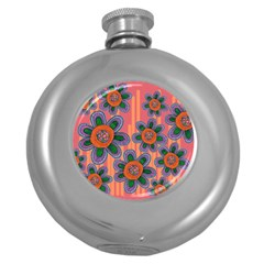 Colorful Floral Dream Round Hip Flask (5 Oz)