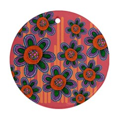 Colorful Floral Dream Round Ornament (Two Sides)