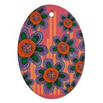 Colorful Floral Dream Oval Ornament (Two Sides) Back
