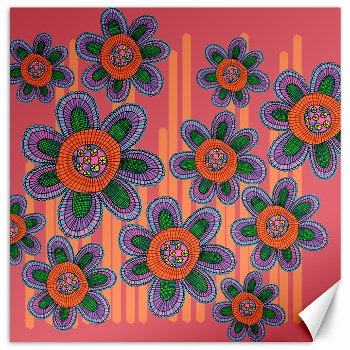 Colorful Floral Dream Canvas 16  x 16