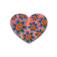 Colorful Floral Dream Heart Coaster (4 Pack)  by DanaeStudio