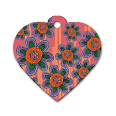 Colorful Floral Dream Dog Tag Heart (two Sides) by DanaeStudio