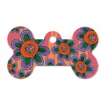 Colorful Floral Dream Dog Tag Bone (Two Sides)