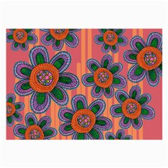 Colorful Floral Dream Large Glasses Cloth (2 Side) by DanaeStudio