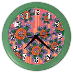 Colorful Floral Dream Color Wall Clocks by DanaeStudio