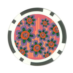 Colorful Floral Dream Poker Chip Card Guards