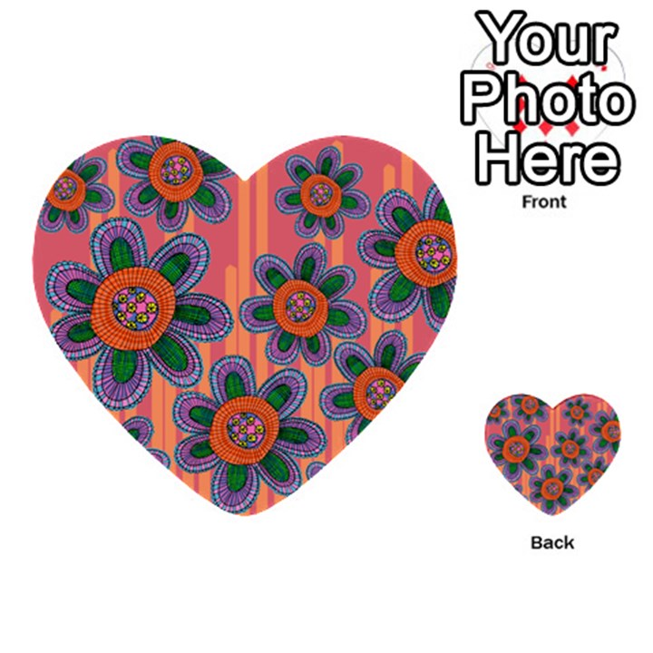 Colorful Floral Dream Multi-purpose Cards (Heart)