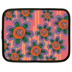 Colorful Floral Dream Netbook Case (large) by DanaeStudio