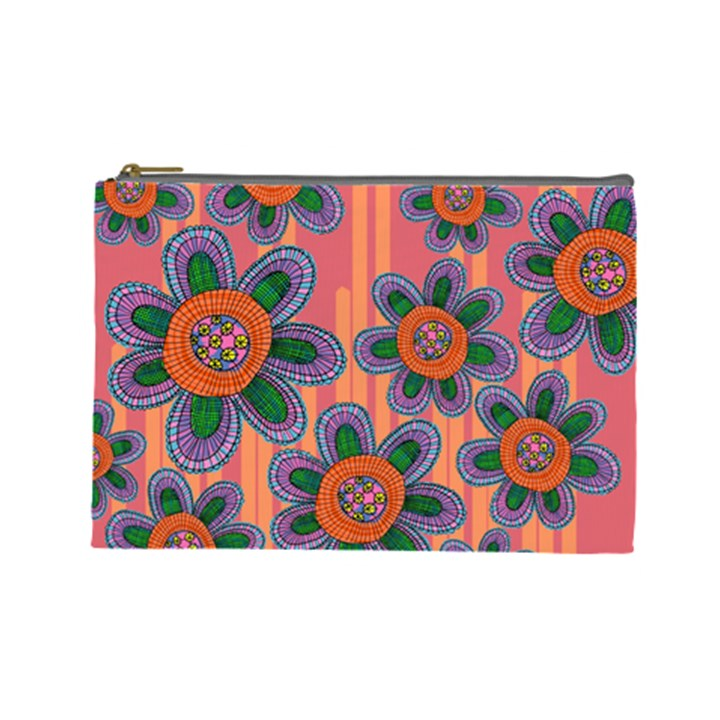 Colorful Floral Dream Cosmetic Bag (Large)