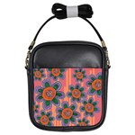 Colorful Floral Dream Girls Sling Bags Front