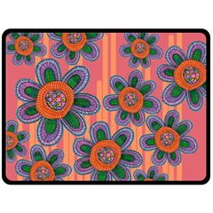 Colorful Floral Dream Fleece Blanket (large)  by DanaeStudio