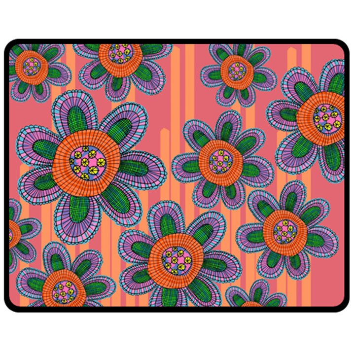 Colorful Floral Dream Fleece Blanket (Medium)