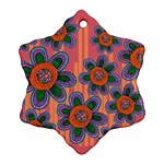 Colorful Floral Dream Snowflake Ornament (2-Side) Front