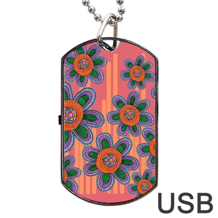 Colorful Floral Dream Dog Tag USB Flash (One Side)