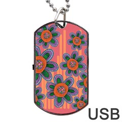 Colorful Floral Dream Dog Tag Usb Flash (two Sides)  by DanaeStudio