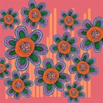 Colorful Floral Dream Twin Hearts 3D Greeting Card (8x4) Inside