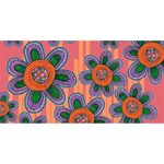 Colorful Floral Dream Twin Hearts 3D Greeting Card (8x4) Back