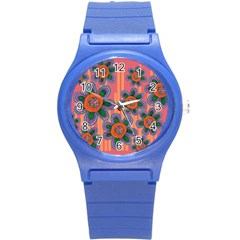 Colorful Floral Dream Round Plastic Sport Watch (S)