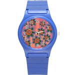 Colorful Floral Dream Round Plastic Sport Watch (S) Front