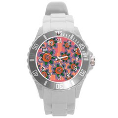 Colorful Floral Dream Round Plastic Sport Watch (l) by DanaeStudio