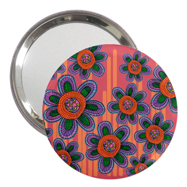 Colorful Floral Dream 3  Handbag Mirrors