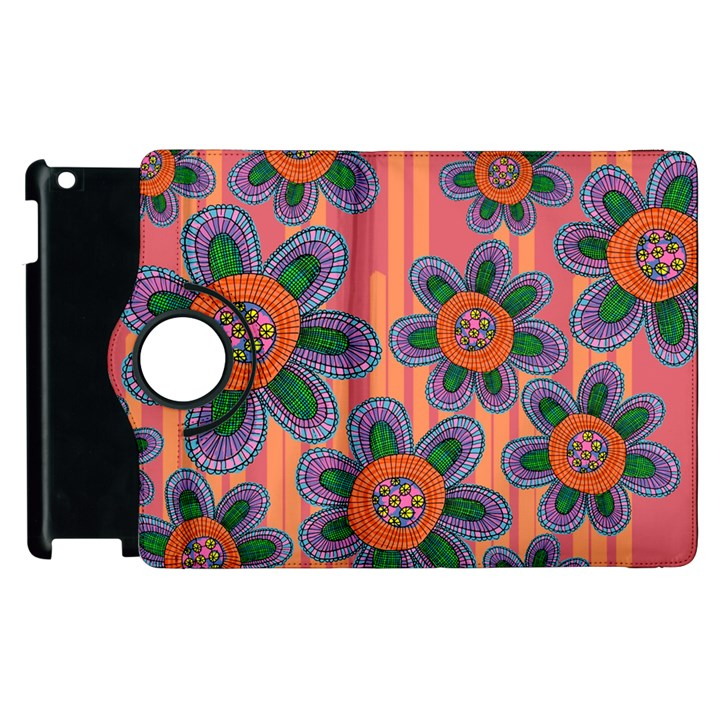 Colorful Floral Dream Apple iPad 2 Flip 360 Case