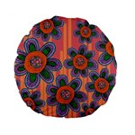 Colorful Floral Dream Standard 15  Premium Round Cushions Back
