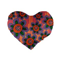 Colorful Floral Dream Standard 16  Premium Heart Shape Cushions