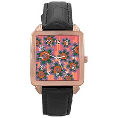 Colorful Floral Dream Rose Gold Leather Watch  by DanaeStudio