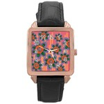 Colorful Floral Dream Rose Gold Leather Watch  Front