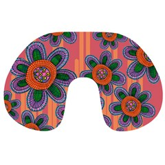 Colorful Floral Dream Travel Neck Pillows by DanaeStudio