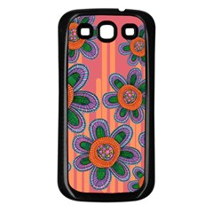Colorful Floral Dream Samsung Galaxy S3 Back Case (black) by DanaeStudio