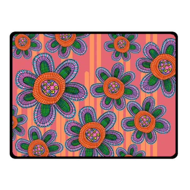 Colorful Floral Dream Double Sided Fleece Blanket (Small)