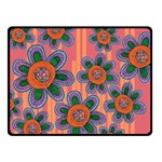 Colorful Floral Dream Double Sided Fleece Blanket (Small)  45 x34 Blanket Back