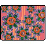 Colorful Floral Dream Double Sided Fleece Blanket (Medium)  58.8 x47.4 Blanket Front