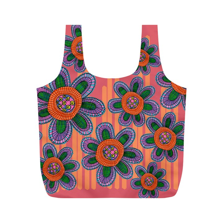 Colorful Floral Dream Full Print Recycle Bags (M)