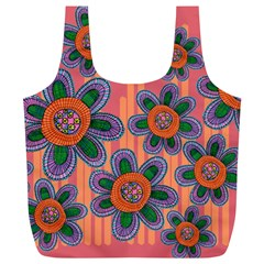 Colorful Floral Dream Full Print Recycle Bags (L)