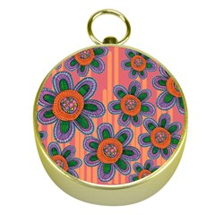 Colorful Floral Dream Gold Compasses