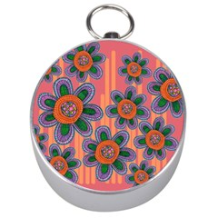 Colorful Floral Dream Silver Compasses