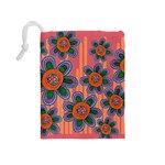 Colorful Floral Dream Drawstring Pouches (Medium)  Back
