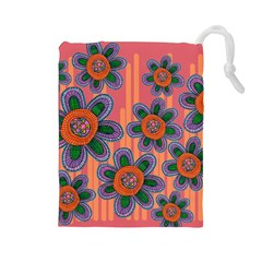 Colorful Floral Dream Drawstring Pouches (large)  by DanaeStudio