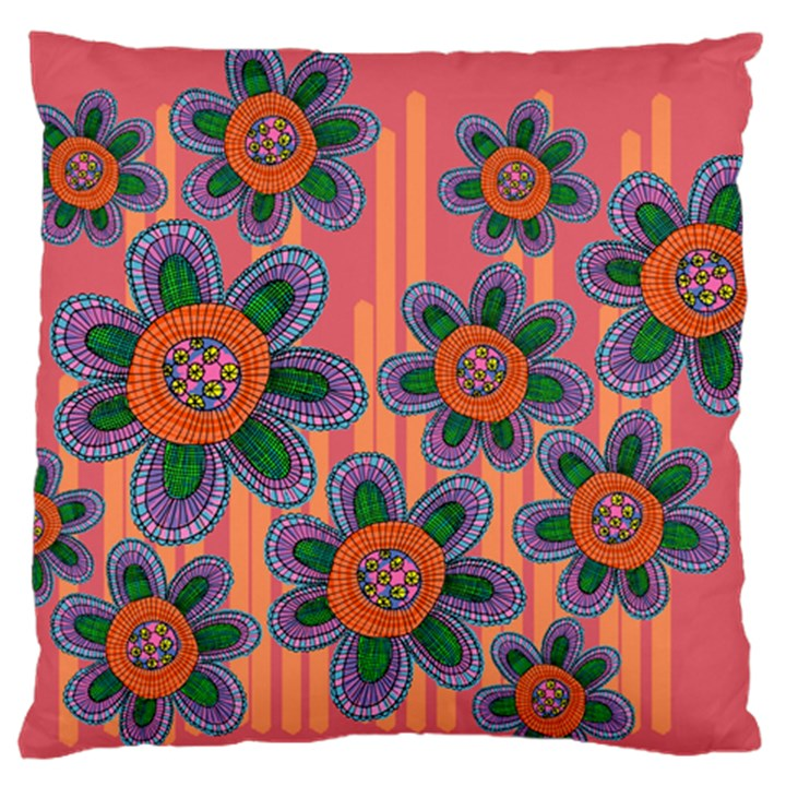 Colorful Floral Dream Large Flano Cushion Case (One Side)