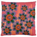 Colorful Floral Dream Large Flano Cushion Case (Two Sides) Front
