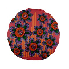 Colorful Floral Dream Standard 15  Premium Flano Round Cushions by DanaeStudio