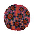 Colorful Floral Dream Standard 15  Premium Flano Round Cushions