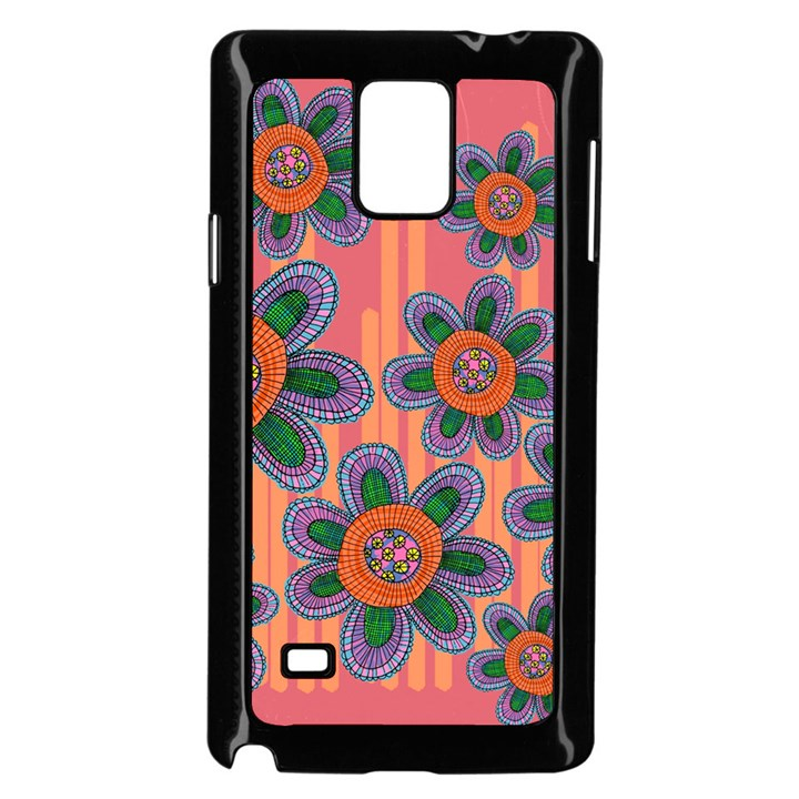 Colorful Floral Dream Samsung Galaxy Note 4 Case (Black)