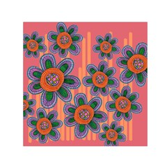 Colorful Floral Dream Small Satin Scarf (square)  by DanaeStudio