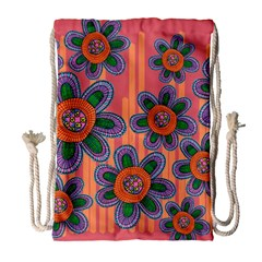 Colorful Floral Dream Drawstring Bag (large) by DanaeStudio
